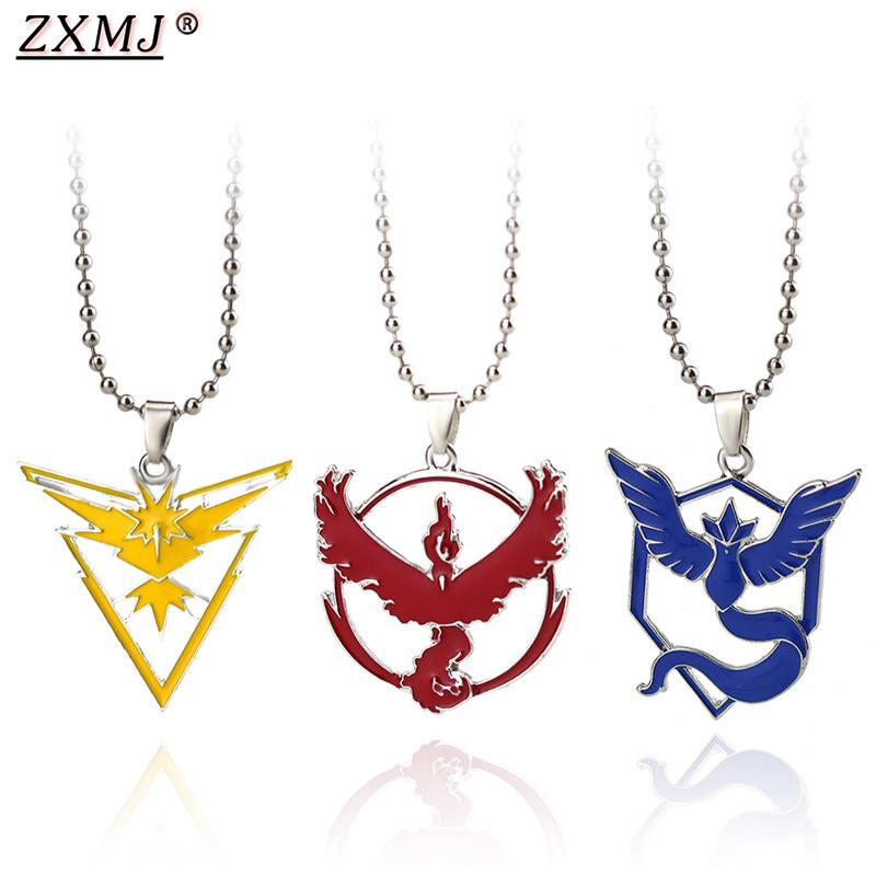 ZXMJ GO Tag necklace Articuno Moltres Zapdos Game Anime Metal Team bead chain necklaces pocket figures For Gift