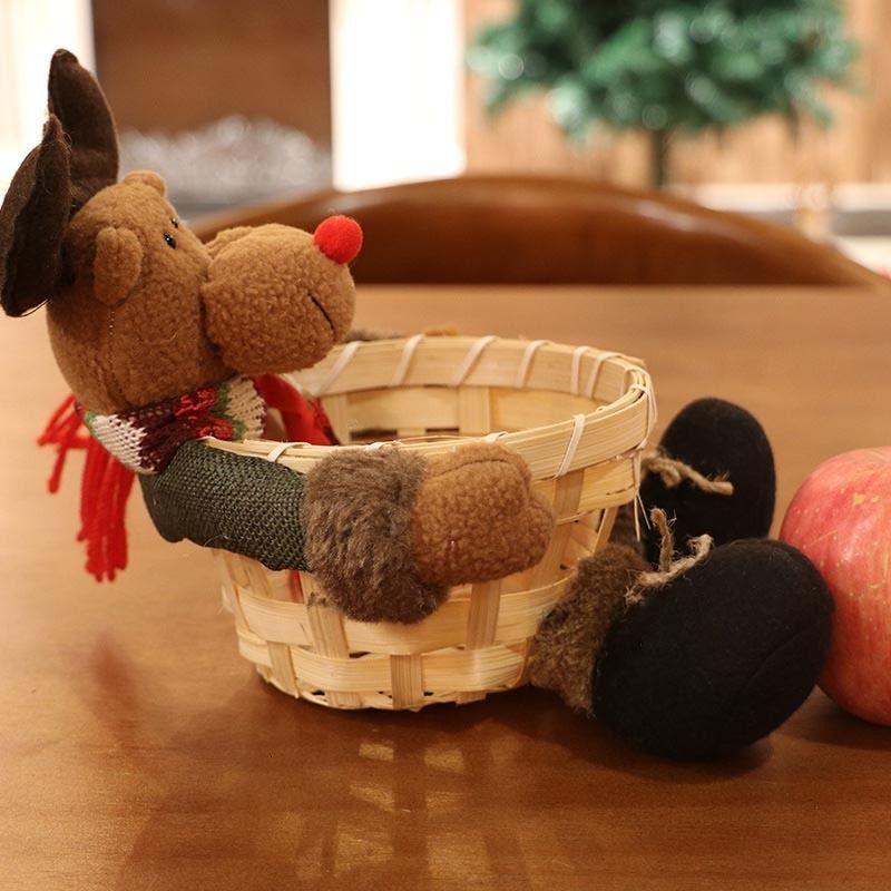 817w adorno de almacenamiento de Navidad de Santa caramelo cesta regalo de la decoración Claus muñeco de nieve ciervos Xhc88