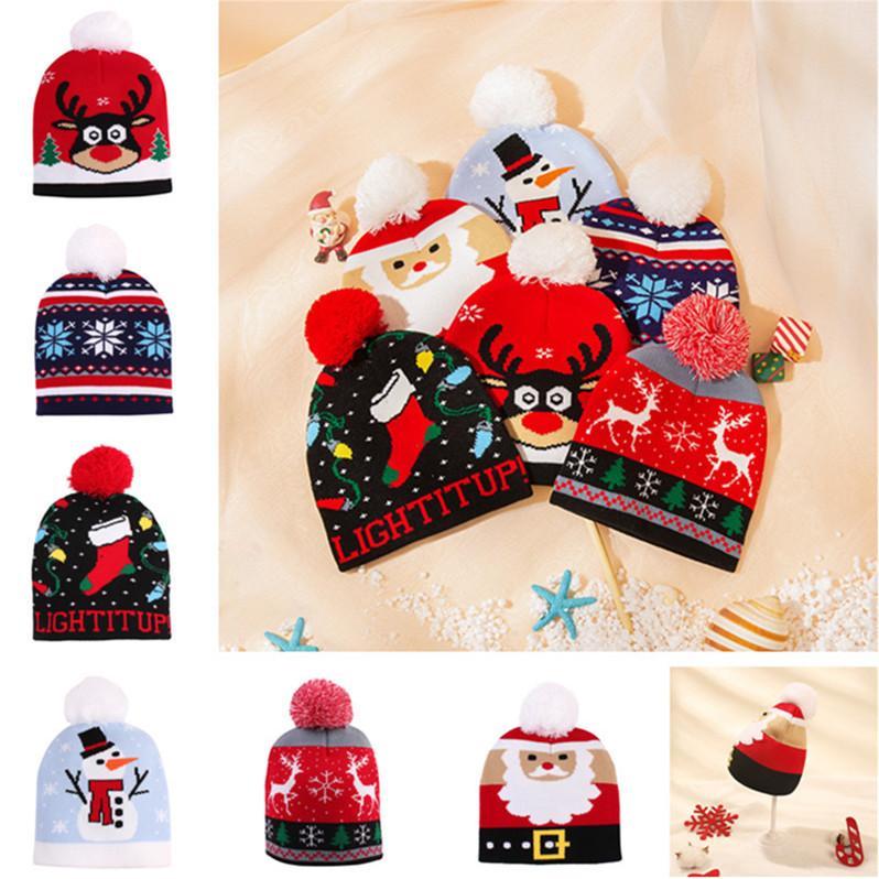 Christmas Baby Girls Boy Knit Hat Toddler Warm Crochet Hats Designer Santa Claus Snowman Knitted Skull Beanie Cap Children Hats D91004