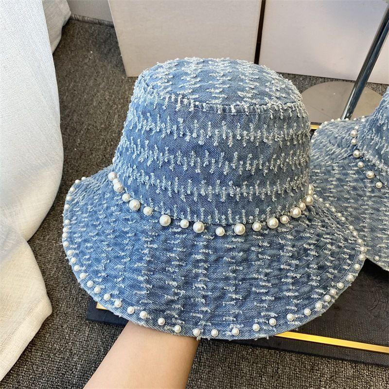 3 couleurs Femmes Designer Chapeaux Denim Chapeaux Bucket avec Perles Rayé Skateboard Cap Mode Chapeaux Accessoires baquet réglable Femmes