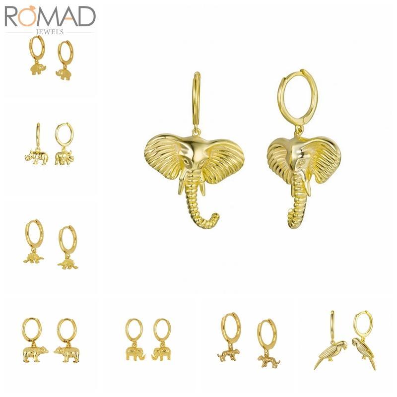 925 Sterlingsilber-Band-Ohrringe für Frauen Tropfen Tier Elefant Cheetah Kreis Ohrring-Bänder Runde Ohrringe Schmuck Pendientes