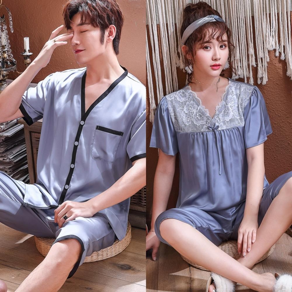 le style décontracté nzuyy soie comme pyjamas costume vêtements à manches courtes de vêtements glace cardigan coréenne à la maison du couple de mode couple soie à domicile