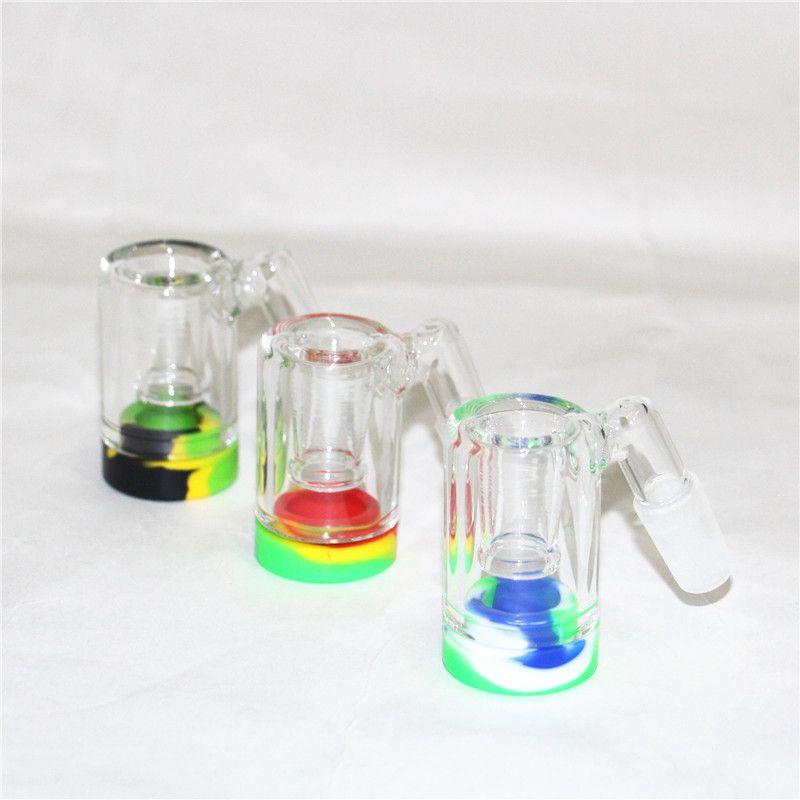 Hookahs Glass Reclaim Atilleros Adaptadores 14 mm 18 mm Hembra Hembra 45 90 Con Reclamador Cúpula Cena Ceniza Aflizadora Adaptador para Agua de Silicona Bongs Dab Rigs