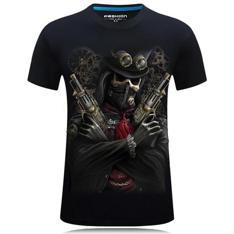 Мужские футболки Designer 3D печати стерео властной тенниска личность дизайнер одежда вокруг шеи тенниска роскоши пиратских мужчин рубашка