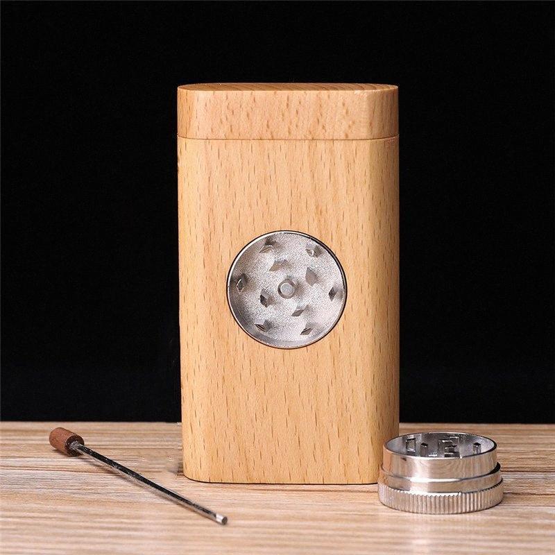 Natürliches Holz-Dugout mit einem Röhren-tragbaren Kräuter-Zigaretten-Tabak-Tabak-Aufbewahrungsbox Holzschleifhalter Rauchen Zubehör