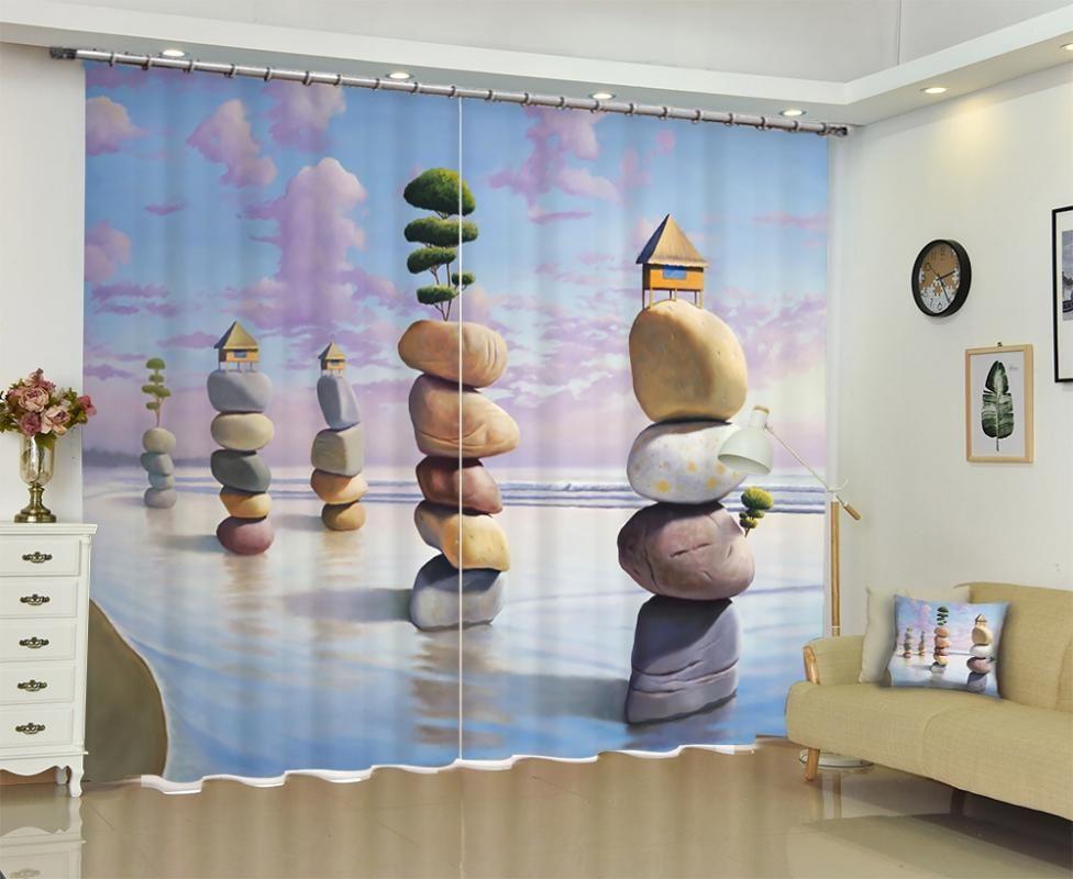 babson Cobblestone 3D cortina de impressão digital DIY cortina foto personalizada avançada