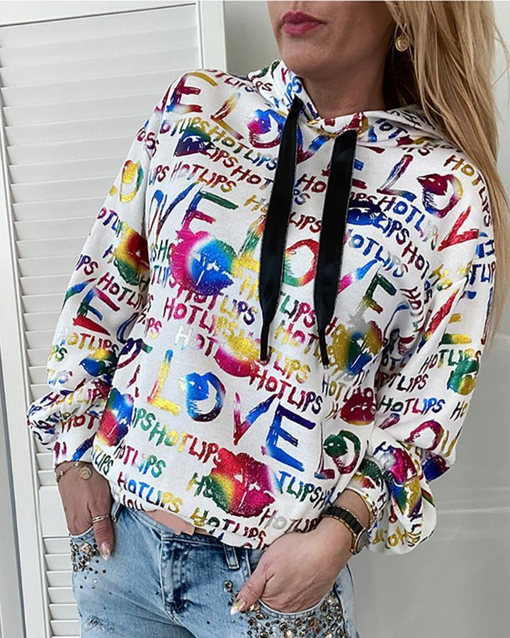 Fashion New Women Hoodie Color Letter Printing Hooded Loose Long Sleeve Sweater Women Size S-XL Free Shipping