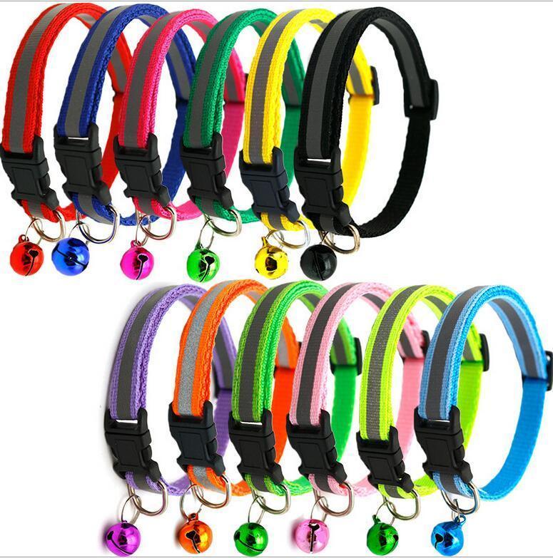 collare CALDO Breakaway gatto cane con le campane il collare di nylon riflettente regolabile Pet Collari per gatti o cani di piccola taglia 12 colori