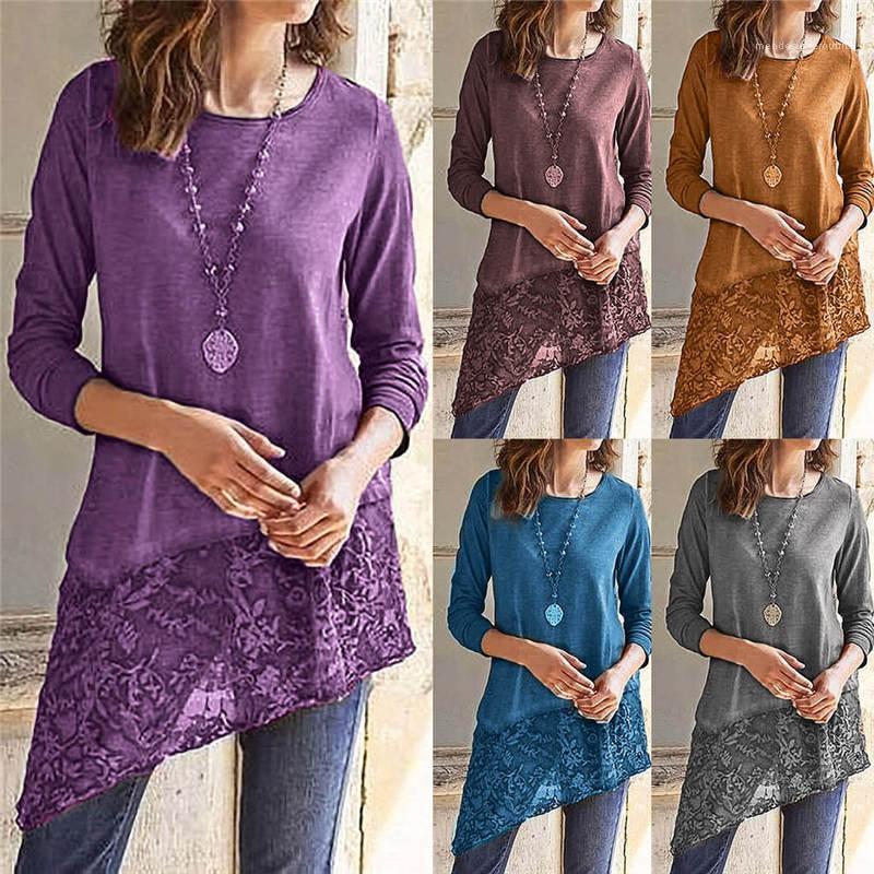 Günlük Gömlek Bayan Bahar Giyim Kadın Tasarımcısı Dantel T Shirt Kadın Mürettebat Yaka Uzun Kollu Katı Renk