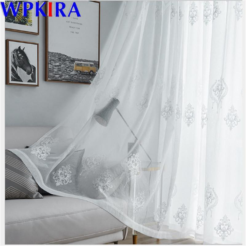 Embroidery Tulle Curtains For the Living Room Voile Sheer Curtain For Bedroom Kitchen Window Blinds Drape Custom Size X-AD429#30