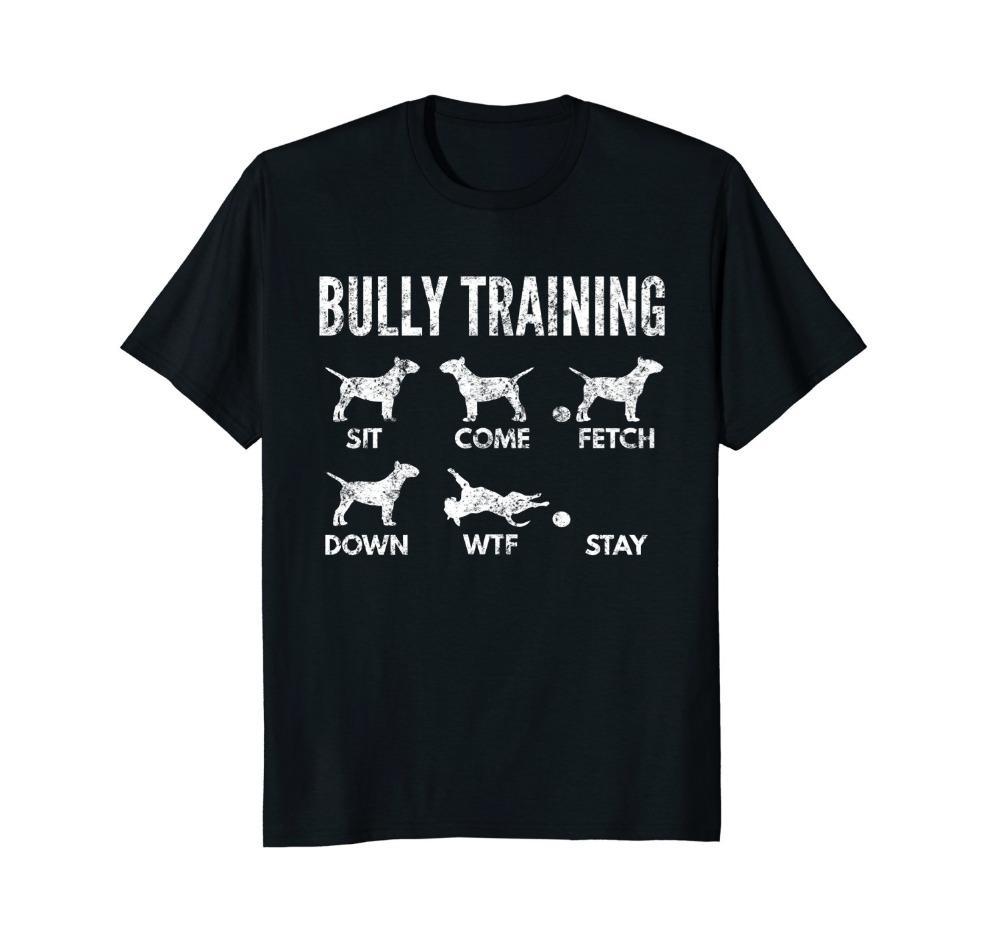 Imprimir camiseta de manga corta para hombre caliente Bull Terrier Camisa - apenada Bully Trenes camiseta