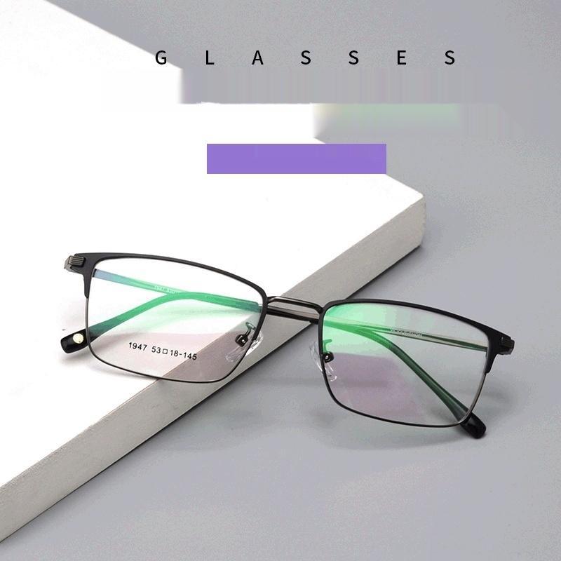 oftRE Nuova moda struttura in metallo densità New moda quadrati struttura in metallo uomini uomini vetri piani Occhiali Glassesflat
