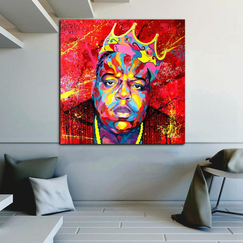 Wall Art Poster ritratto Biggie pronto a morire Musica Cantante Rapper stella della tela di canapa Pittura Immagini parete per Soggiorno Home Decor