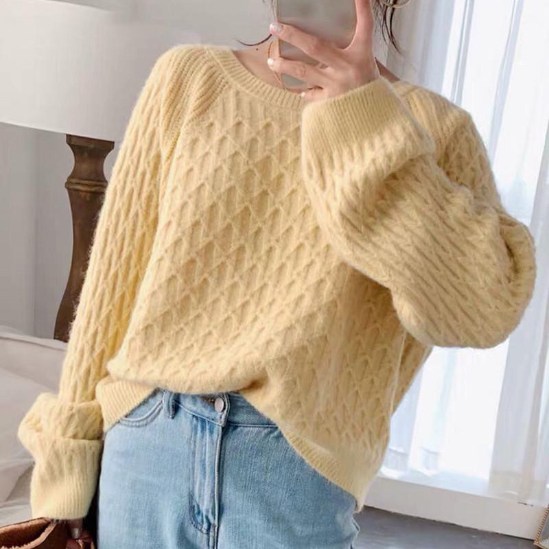 Vintage Chic O-cuello del suéter de las mujeres que hace punto tela escocesa de Argyle Tops Casual caliente suelta de punto Jumper Mujer Otoño Invierno 2020