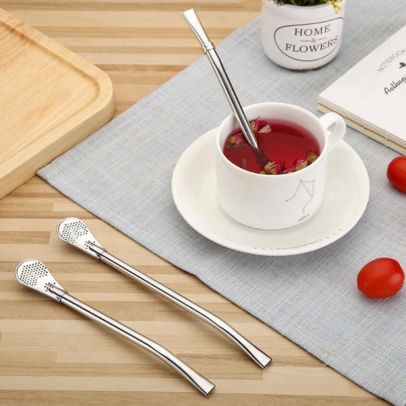 3 tipos de aço inoxidável mate palhas Bombillas Yerba Filtros Companheiro Bar Beber Colheres de palha para colheres de café suco