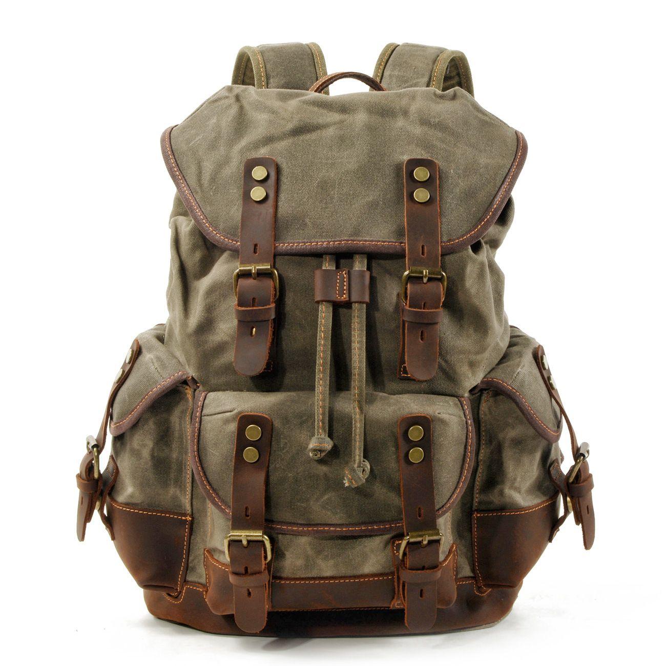 Melhor Qualidade Casual estudante mochila retro mochila cordão de cera de óleo saco de lona mochila diagonal de viagem dos homens