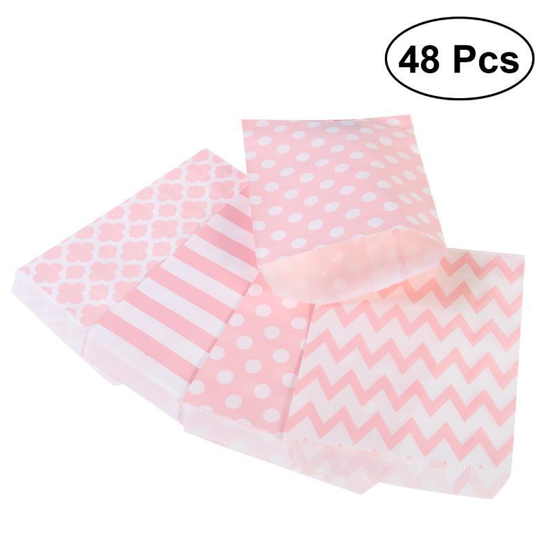 Geschenk Wrap Nuolux 48 stücke Gestreifte Polka Dot Chevron Hochzeit Candy Bar Bags Partypapier A50