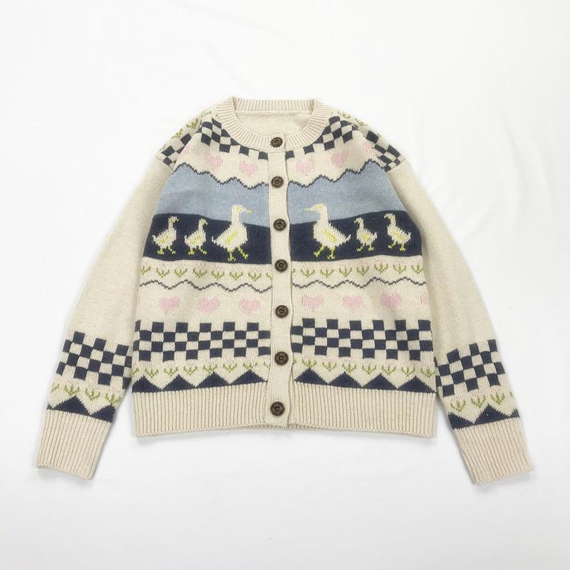 Giappone Mori Retro ragazza Anatra jacquard Cardigan Sweet Lolita cappotto del maglione lavorato a maglia Donne giacca cardigan Tops Autunno Inverno Y200910