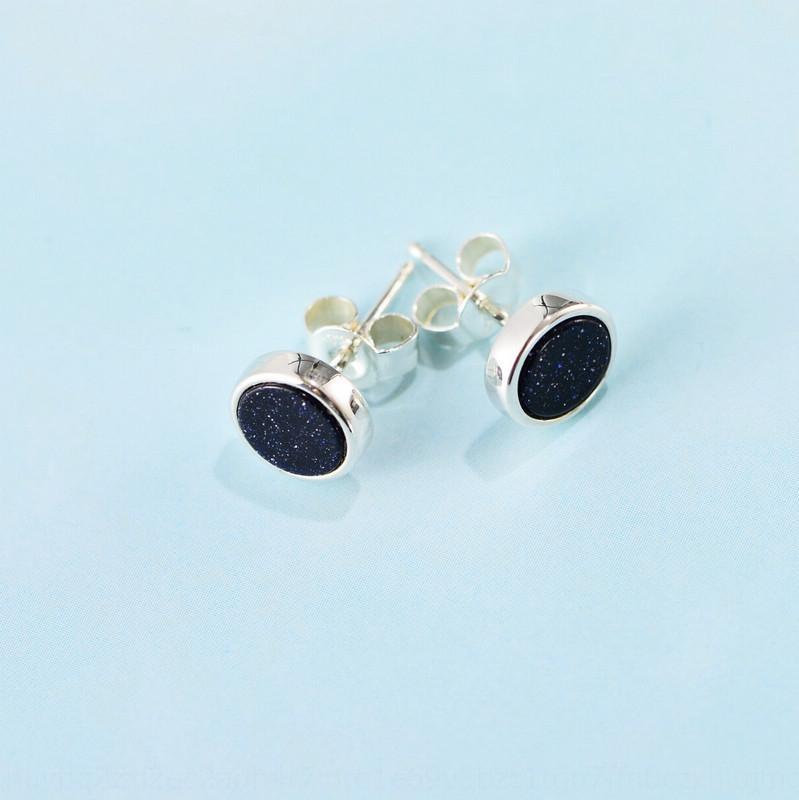 ornamentos ltrfX pequeno preto jóias brincos de cristal S925 prata esterlina moda japonês e coreano simples brincos de prata com tampa de borda