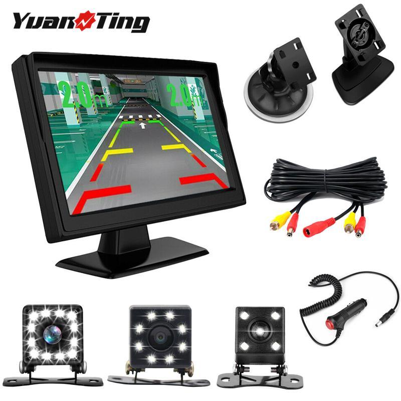 YuanTing Car Backup Rear View Reverse Camera Waterproof Night Vision Auto 12 LED Lights & Universal 5 inch TFT LCD Monitor