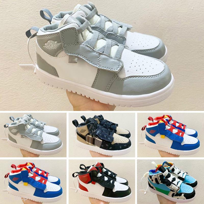 Nike Air Jordan 1 nuove 1 scarpe a buon mercato da basket retrò lupo grigio Gamma blu bianco nero di promenade rosso notte bambini jumpman scarpe da ginnastica di tennis