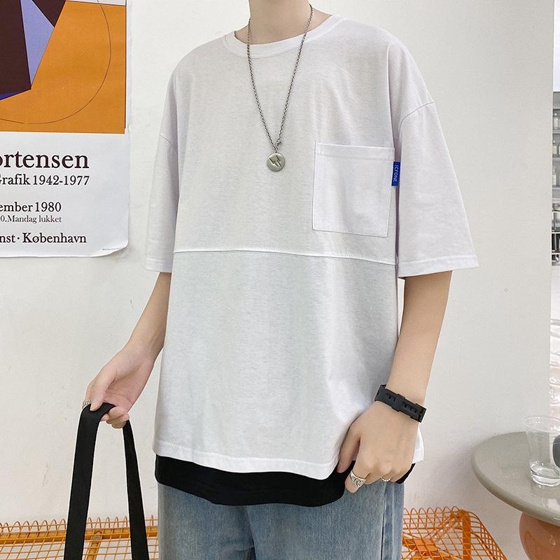 QxEXI Sommer ins Trendmarke gefälschte zweiteilige T-Shirt T-shi kurzärmeliges Hip-Hop-lose Schüler koreanischen Artmänner Artpaar trendy oben Har