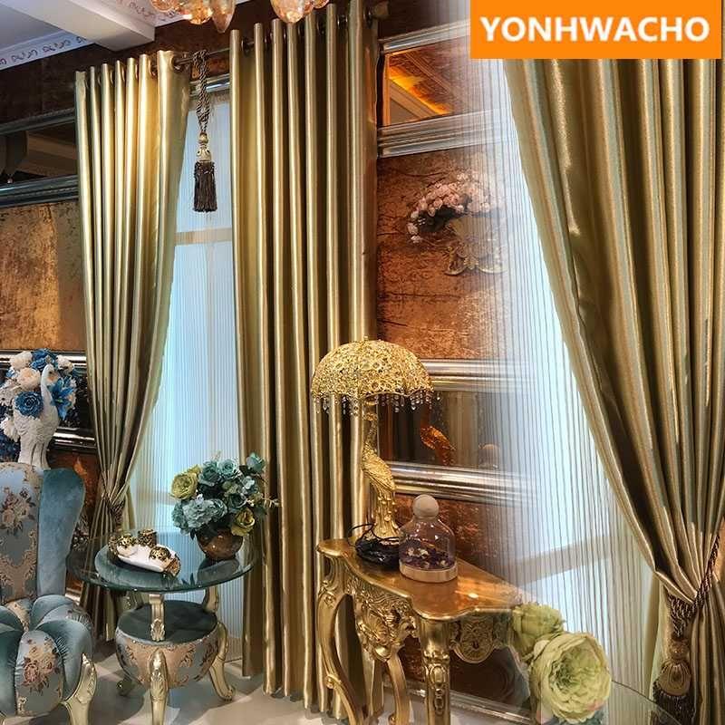 rideaux personnalisés Simple moderne salon Champagne Or monochrome tissu de couleur unie Panneau assombrissant tulle drapé rideau B239