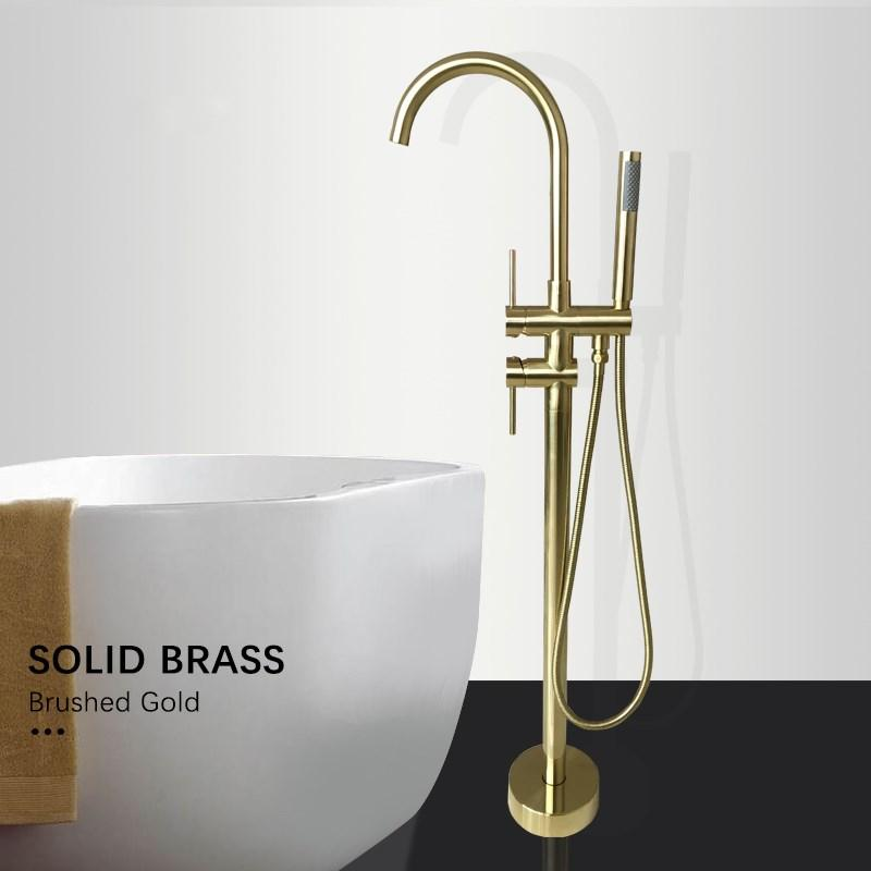 Bathroom Bathtub Faucet Standing Tap Full Solid Brass Mixer Shower Nickel Brushed Gold Matte Black Chrome Dual Handle
