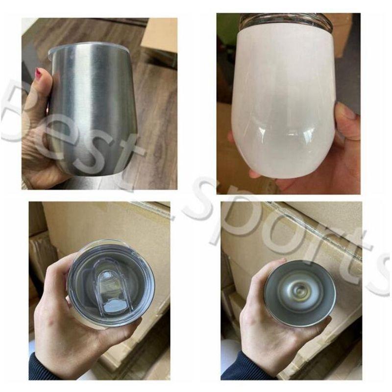 12Oz Wein-Tumbler-Stahl-Sublimations-Tasse Versand Edelstug-Vakuum-isolierte Tasse mit Ei mit leeren Bierkrügen Kaffee-Deckel yya481 mu ppox