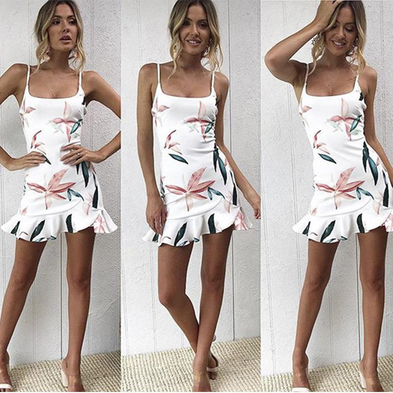 2020 Summer Women Sundress Fashion Red Black Spaghetti Strap Ruffles Casual dresses Sexy Backless Beach Party Mini Dress Red Black Color
