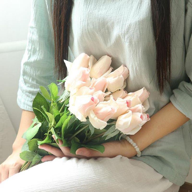 لوازم وهمية الزهور برعم وردة غرفة المعيشة الزهور Arrangemen الزفاف زهرة الرئيسية الطرف زهرة حجم حول 56CM 6 تصاميم BT505