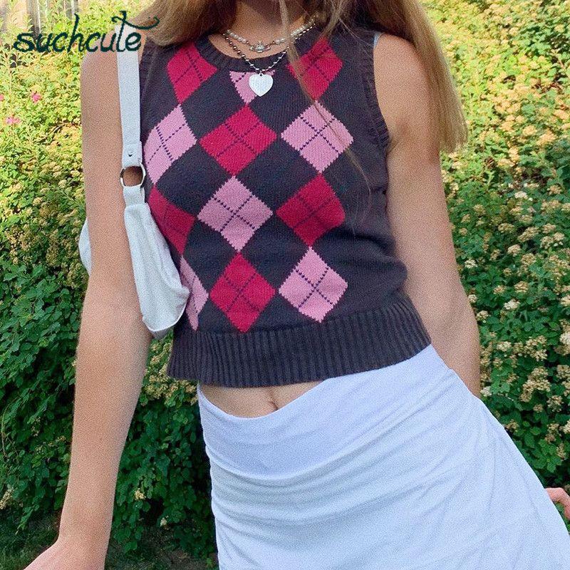 SUCHCUTE Argyle maniche Gilet lavorato a maglia con scollo a V Plaid Gilet Donna Y2K e ragazza Preppy Style Bassiera autunno Patchwork '90 Y200910