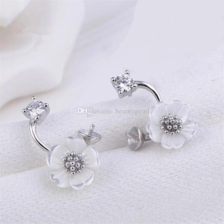 Earring Blank White Shell Flower Curved Earring Pearls Semi Mount 925 Sterling Silver Findings 5 Pairs