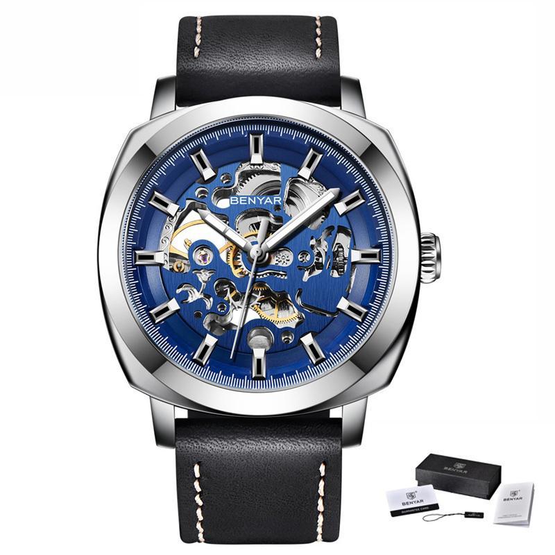Armbanduhren Benyar Top Herrenuhr Business Automatisches mechanisches Lederband Wasserdichte Sportuhren Relogio
