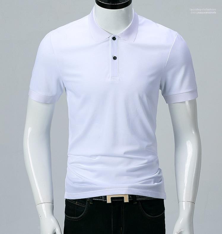 الكلاسيكية الرجال بولو الصيف الصلبة أبيض أسود بدوره إلى أسفل الياقة الأزياء ALL MATCH بولو شيرت بأكمام قصيرة