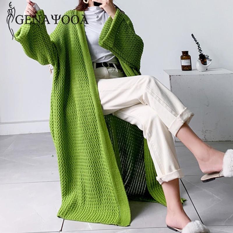 Genayooa Casual Cardigans Long Sweater Women Long Sleeve Knit Cardigan Oversized Solid Loose Cardigan Coat Women Korean Winter T200910