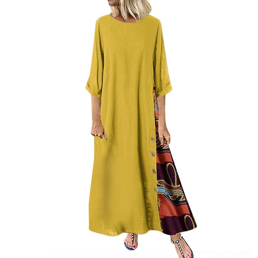 vestido de linho meia manga Primavera 2020 e algodão costura de algodão e linho vestido de zUrBv lnbzJ Mulheres