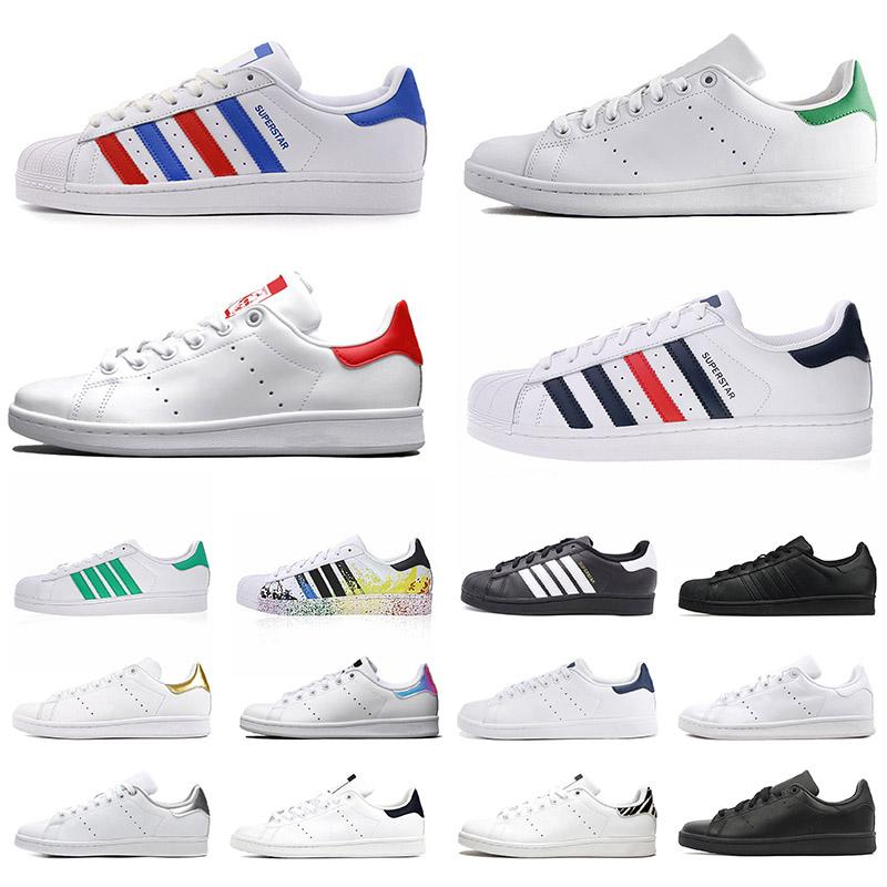 adidas stan smith superstars designer عارضة أحذية الرجال النساء الثلاثي الأبيض الأسود الأزرق الداكن  زيبرا إمرأة رجل المدربين الرياضة في الهواء الطلق مصمم أحذية  رياضية