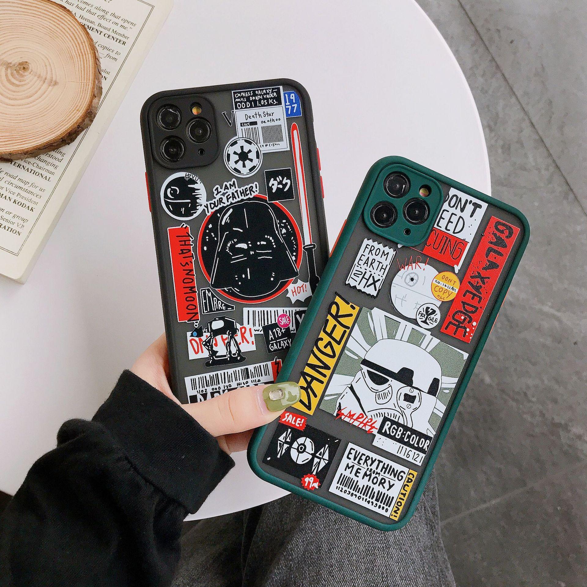 Mobile para 11 max White y creative Teléfono es XR / 11 Dibujos animados iPhone Samurai Pro Protective Skin Funda negra adecuada Avlax