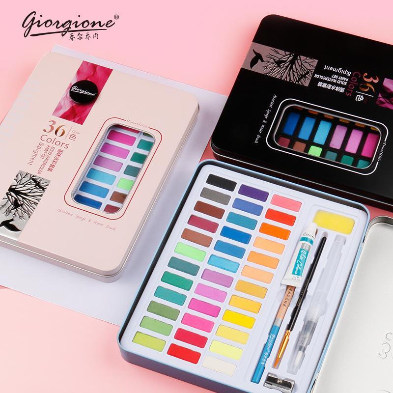 36/48 pigmenti di colore solido forniture di vernice d'arte dell'acquerello a scuola Artista Kid tavolozza di acquerelli Portable spazzola della penna