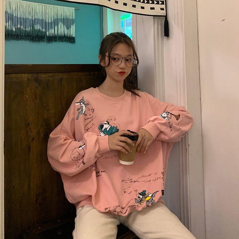 grande aluno de GwAEs Mulheres estilo Harajuku 2020 Primavera e Outono tamanho T-shirt de manga comprida fina t-shirt sweatersweater camisola mulheres soltas de