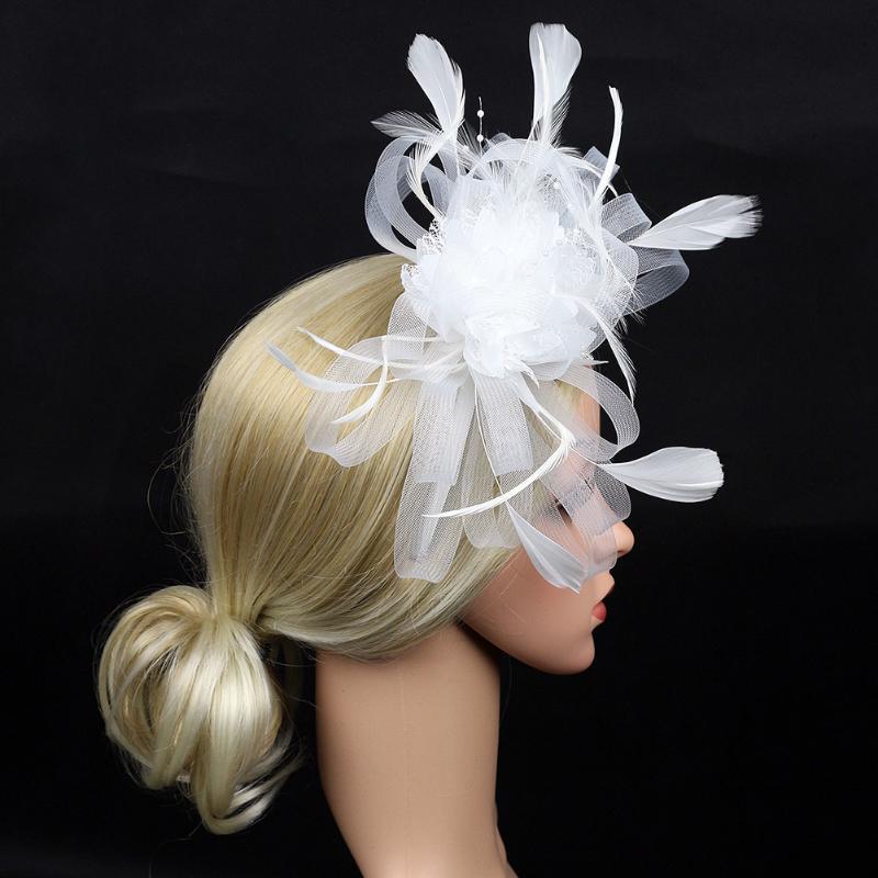 Fedoras Frauen Hochzeit Feder Mesh-Haar-Zusatz Bankett Brautfascinator Stirnband Cocktail-Party-Hut-Geschenk Tag