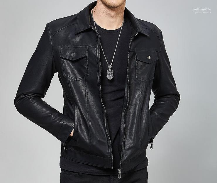 Mantel-Kleidung Männer schwarz PU-Leder-Jacken Herbst Frühling Hombres Jacke