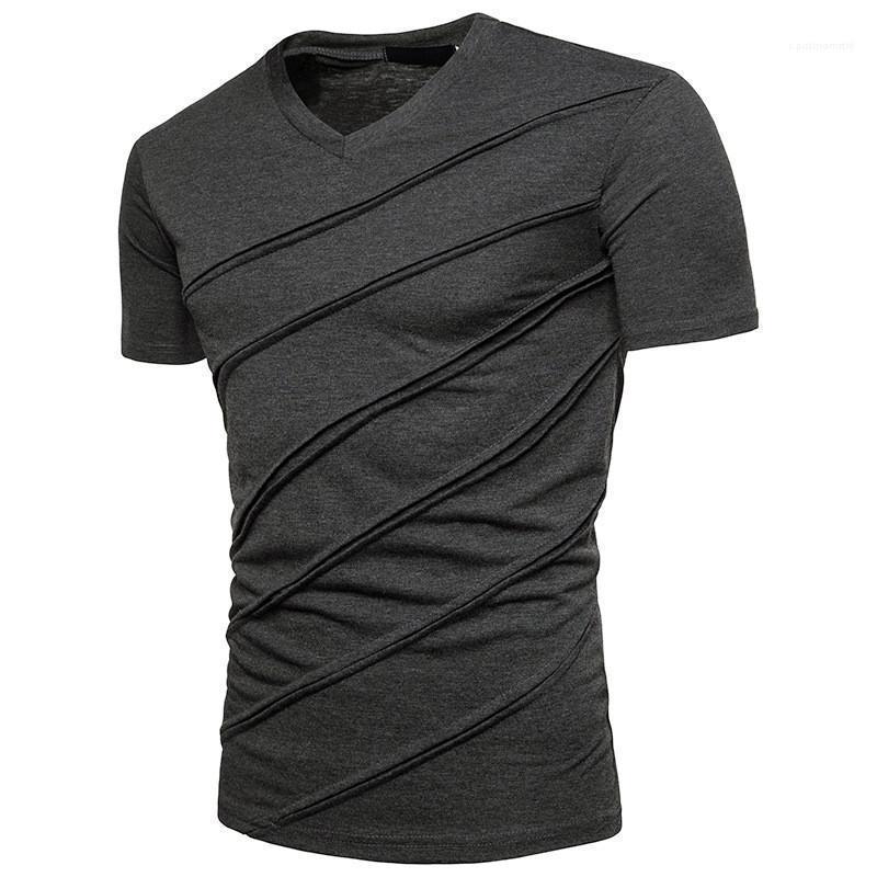 Mens T-shirts Designer Pescoço V manga curta Tops Sólidos Casual camisas de T Homens Fold Moda Verão