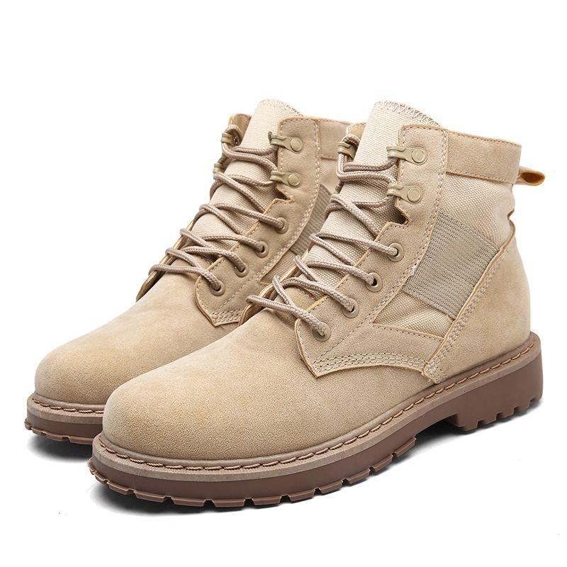 2020 Осень Mens Tactical Boots Black Leather Ботильоны для мужчин Adult работы Холст обувь Vintage Style Узелок