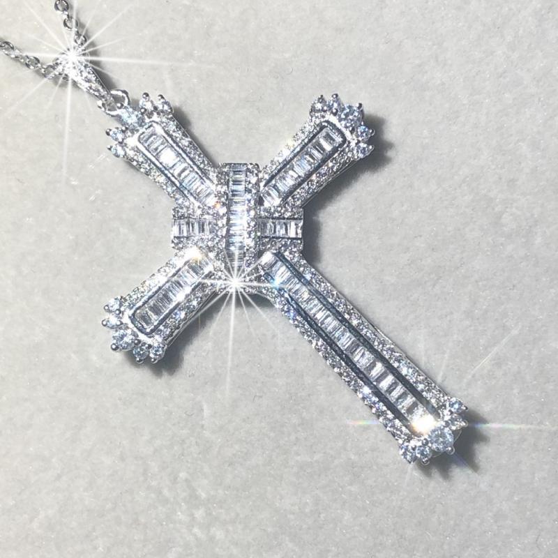 الأصلي 925 المتأنق الكتاب المقدس يسوع الصليب قلادة النساء الرجال غرامة فاخر مجوهرات الصليب سحر الماس مقلد