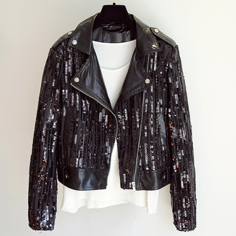 2020 Mode coréenne Paillettes Veste en cuir pour femmes Slim Fit Shorts moto manteaux en cuir printemps et en été Vêtements Femmes