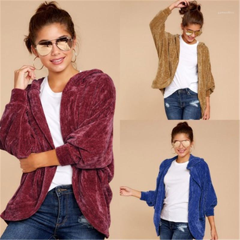 Veste à capuche Designer Automne Femme en vrac solide Couleur long manteaux de femmes à manches longues Manteaux Mode Tendance Cardigan Casual