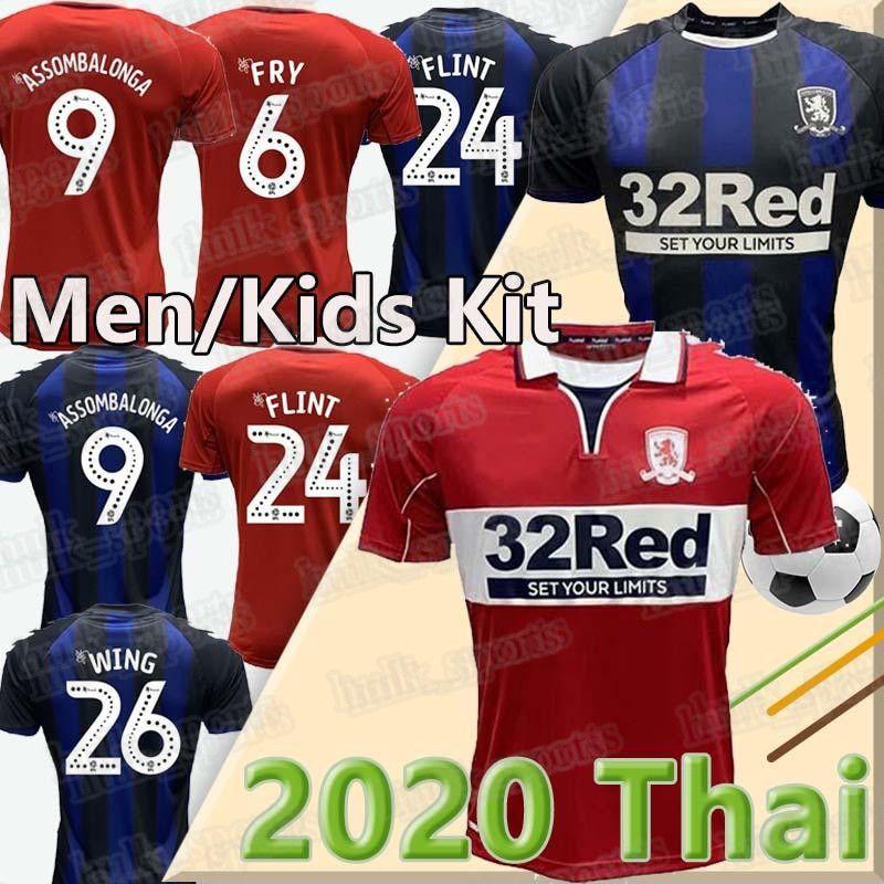 Homens + Crianças 2020 2021 MIDDLESBROUGH jérsei de futebol 20 21 Ashley Michael Fletcher FLINT ASA ASSOMBALONGA camisas do futebol da casa de distância uniforme