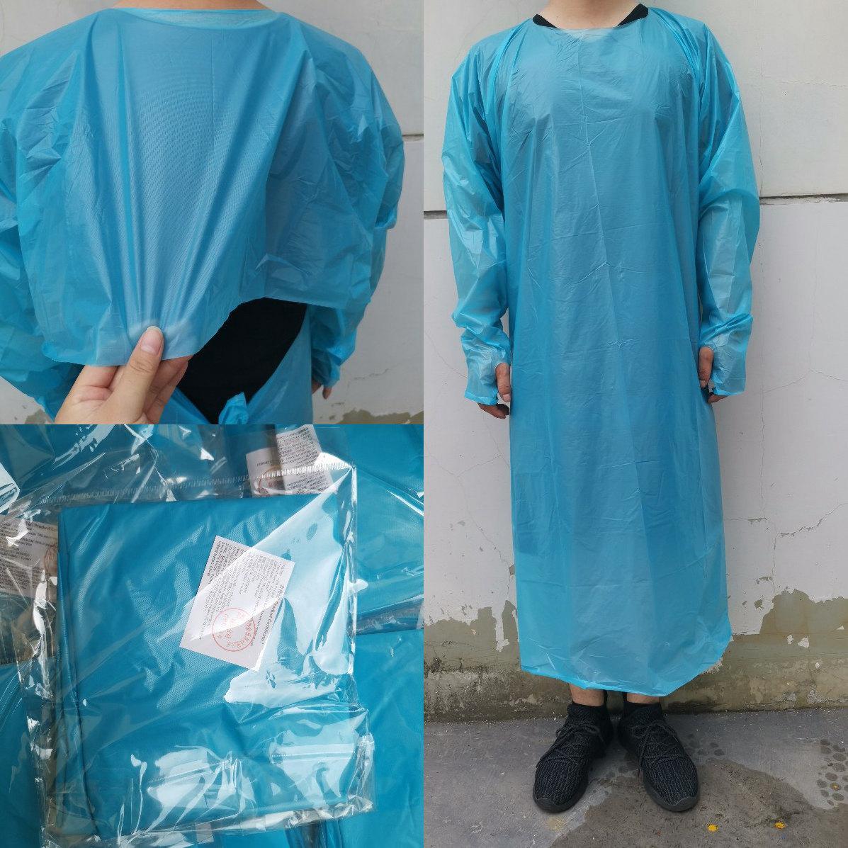 CPE protezione Abbigliamento monouso Isolamento abiti Abbigliamento Tute polsini elastici anti polvere usa e getta Impermeabili CYZ2756 trasporto marittimo